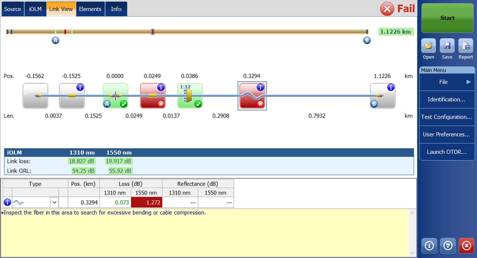 iOLM | Link Characterization | Optical Fiber Testing | OTDR Trace